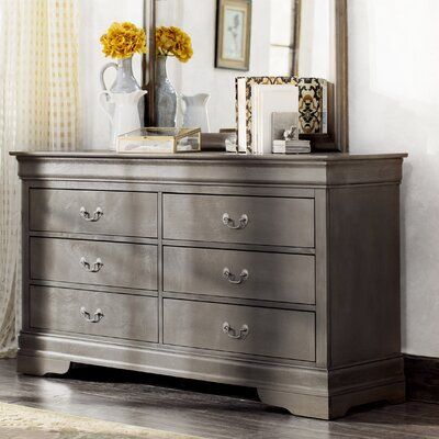 Corbeil 6 Drawer Double Dresser Color: Gray