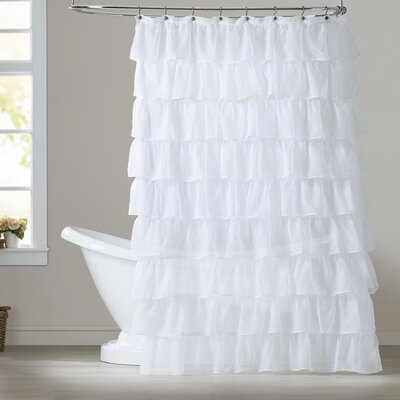 Rodemack Voile Ruffled Tier Shower Curtain Color: White