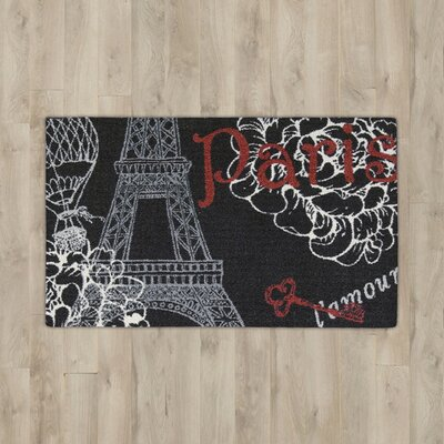 Nathael Black Paris Area Rug Rug Size: Rectangle 18 x 28