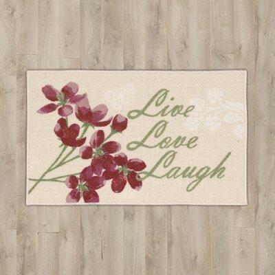 Arnett Beige Live, Laugh, Love Area Rug