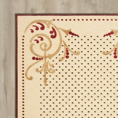 Scrollwork Hand-Loomed Creme Area Rug Rug Size: Rectangle 27 x 4