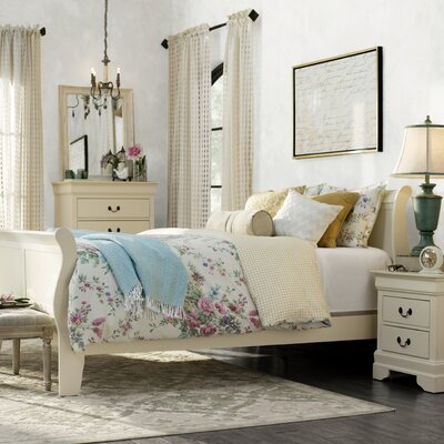 Corbeil Sleigh Bed Size: Twin, Color: Beige