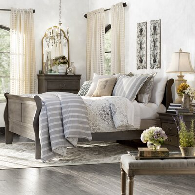 Corbeil Sleigh Bed Size: Twin, Color: Gray