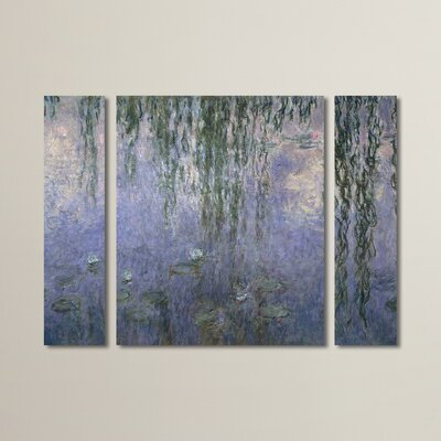 'Water Lilies 1840-1926' by Claude Monet 3 Piece Painting Print on Wrapped Canvas Set
