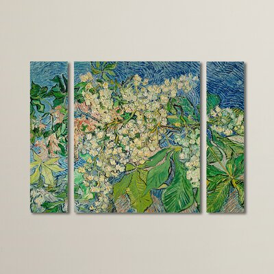 'Chesnut Branches 3' by Vincent Van Gogh Piece Painting Print on Wrapped Canvas Set