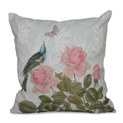 Auserine Asian Rose Floral Print Throw Pillow Size: 16 H x 16 W, Color: Aqua