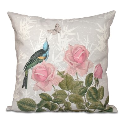 Auserine Asian Rose Floral Print Throw Pillow Size: 18 H x 18 W, Color: Gray