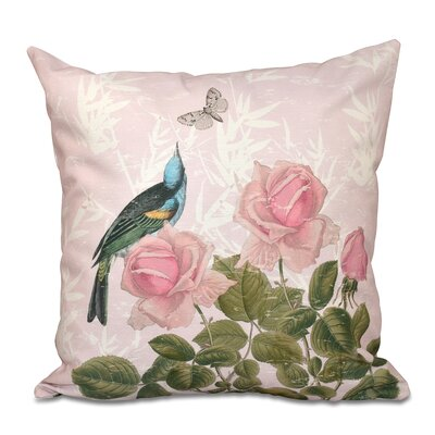 Westby Asian Rose Floral Print Throw Pillow Size: 16 H x 16 W, Color: Pink