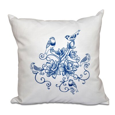 Auserine Five Little Birds Floral Print Throw Pillow Color: Blue, Size: 18 H x 18 W