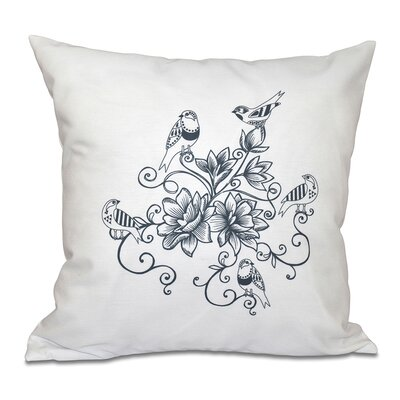 Auserine Five Little Birds Floral Print Throw Pillow Size: 16 H x 16 W, Color: Gray