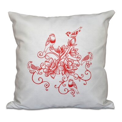 Auserine Five Little Birds Floral Print Throw Pillow Size: 26 H x 26 W, Color: Coral