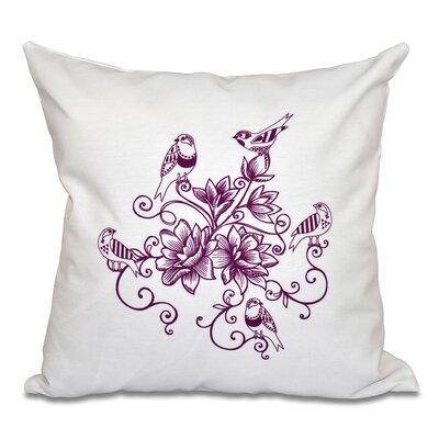 Auserine Five Little Birds Floral Print Throw Pillow Size: 18 H x 18 W, Color: Purple