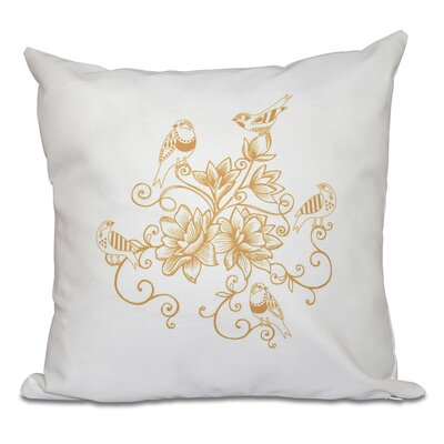 Auserine Five Little Birds Floral Print Throw Pillow Size: 16 H x 16 W, Color: Gold