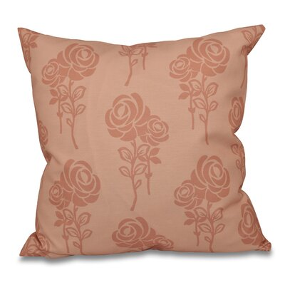 Auserine Floral Print Throw Pillow Size: 18 H x 18 W, Color: Peach