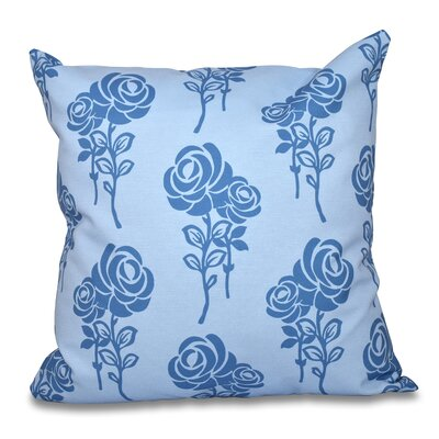Auserine Floral Print Throw Pillow Size: 26 H x 26 W, Color: Blue