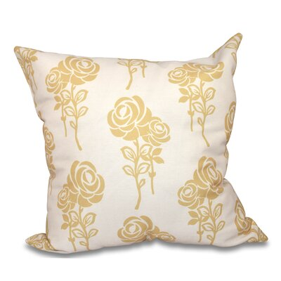 Auserine Floral Print Throw Pillow Size: 16 H x 16 W, Color: Gold