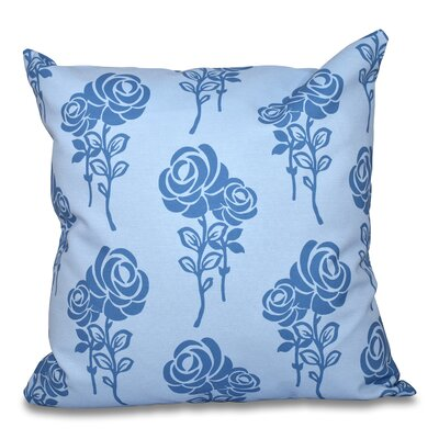 Auserine Floral Outdoor Throw Pillow Size: 18 H x 18 W, Color: Blue