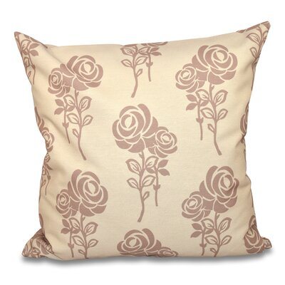 Auserine Floral Outdoor Throw Pillow Color: Taupe, Size: 18