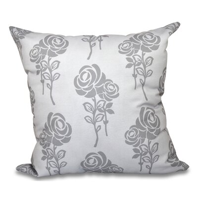 Auserine Floral Outdoor Throw Pillow Size: 20 H x 20 W, Color: Gray