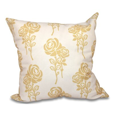 Auserine Floral Outdoor Throw Pillow Size: 18 H x 18 W, Color: Gold