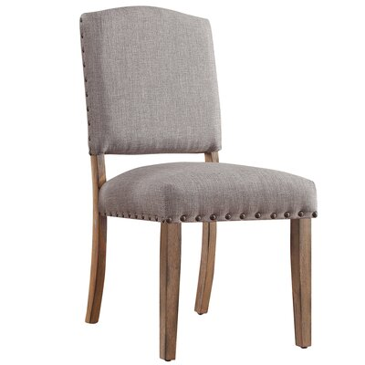 Pompon Nailhead Side Chair Upholstery: Linen - Gray