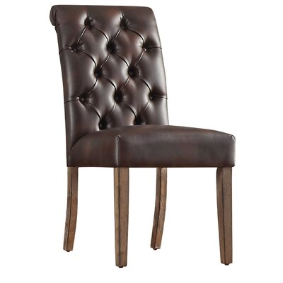 Pompon Tufted Side Chair Upholstery Type - Color: Bonded Leather - Brown