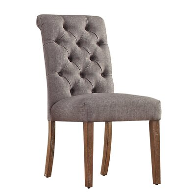 Pompon Tufted Side Chair Upholstery Type - Color: Linen - Gray