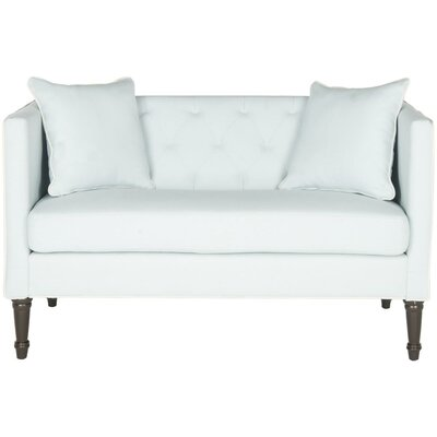 Vanves Chesterfield Settee Upholstery: Powder Blue/White