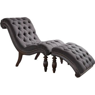 Celya Chaise Lounge and Ottoman Set Upholstery: Dark Gray
