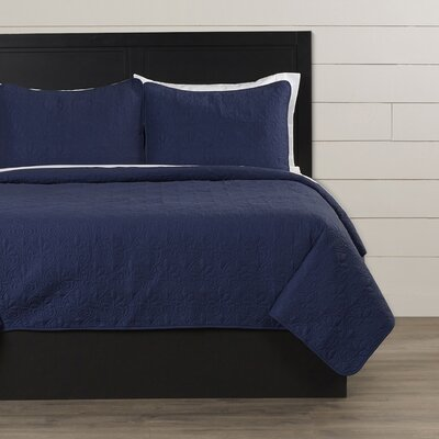 Emy Coverlet Set Size: Full / Queen, Color: Navy