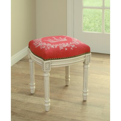 Clematite Coral Crown Linen Upholstered Vanity Stool