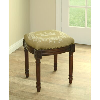 Clematite Coral Crown Linen Upholstered Vanity Stool Color: Tan, Finish: Wood Stain
