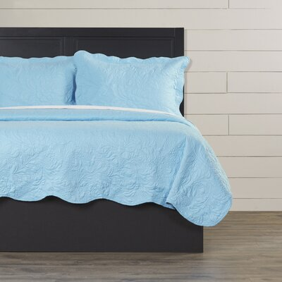 Eden Quilt Set Size: King, Color: Blue