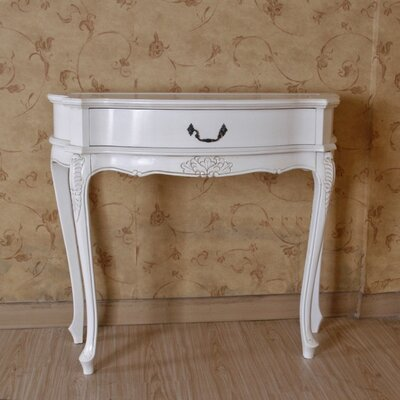 Vanesa Hand Carved Antique White Console Table