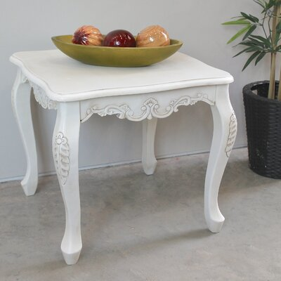 Vanesa Antique White Hand Carved End Table