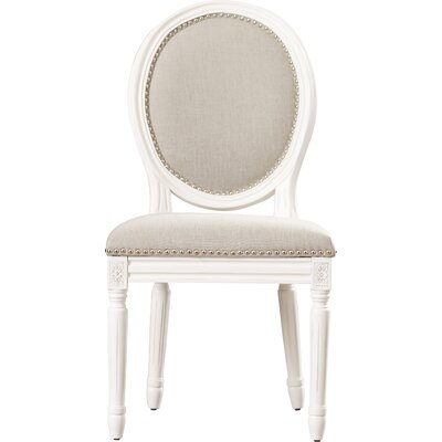 Alpes Side Chair Frame Finish / Upholstery: Cream / Light Gray