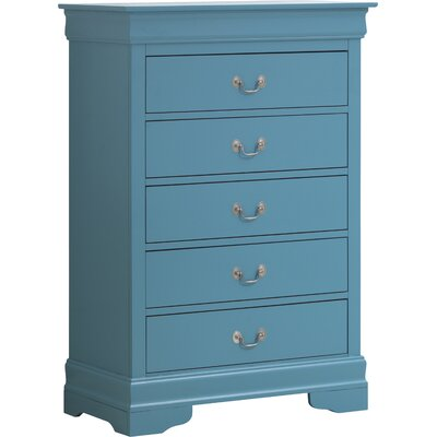 Corbeil 5 Drawer Chest Color: Teal