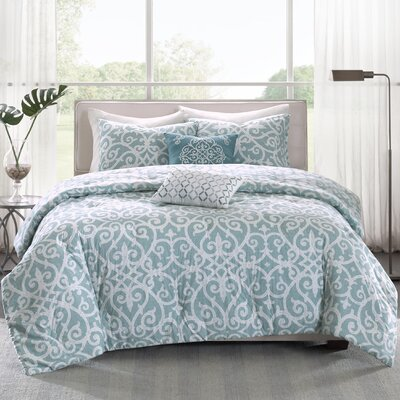 Cotton 5 Piece Reversible Comforter Set Size: King / California King