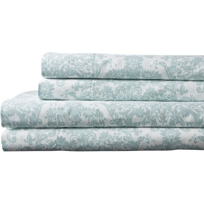 Fresnay Damask 300 Thread Count 100% Cotton Sheet Set Size: California King, Color: Blue
