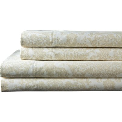 Fresnay Damask 300 Thread Count 100% Cotton Sheet Set Size: California King, Color: Ivory