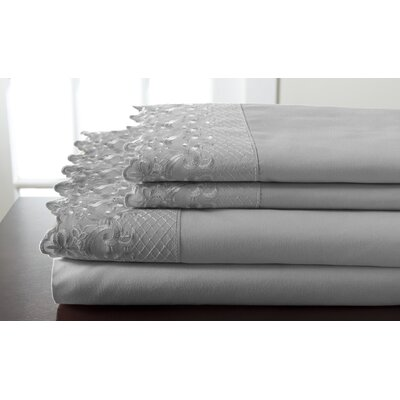 Abere Lace Sheet Set Size: California King, Color: Gray
