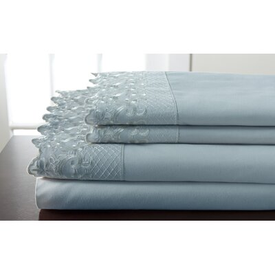 Abere Lace Sheet Set Size: King, Color: Spa Blue
