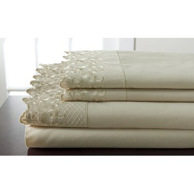 Abere Lace Sheet Set Size: Queen, Color: Taupe