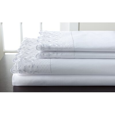 Abere Lace Sheet Set Size: California King, Color: White