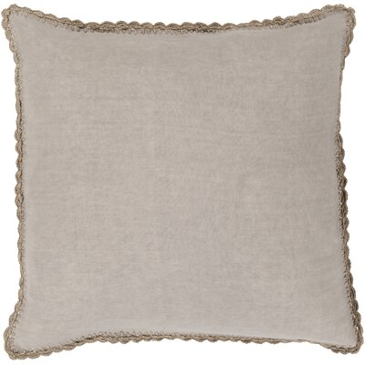 Guerrette Linen Throw Pillow Size: 20 H x 20 W x 4 D, Color: Taupe, Filler: Down