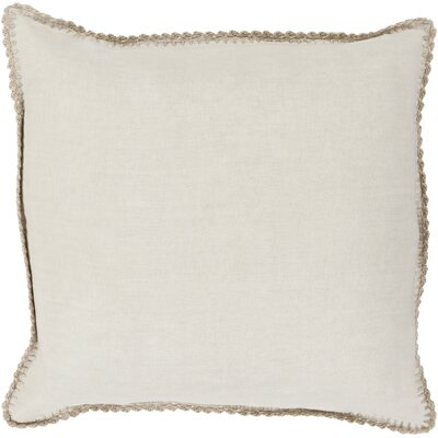 Guerrette Linen Throw Pillow Size: 22 H x 22 W x 4 D, Color: Beige/Khaki, Filler: Down