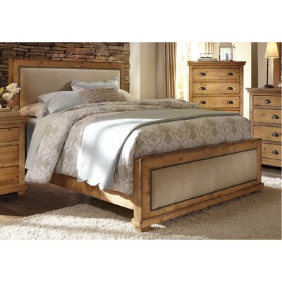Castagnier Upholstered Panel Bed Color: Distressed Pine, Size: King