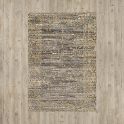 Menton Gray / Gold Area Rug Rug Size: 2' x 3'