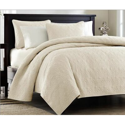 Gaston Coverlet Set Size: Full / Queen, Color: Ivory