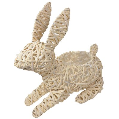 Rattan Bunny Figurine Color: Natural, Size: 14